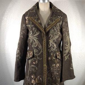 NWT Vintage Johnny Was Biya Embroidered Coat Sz M